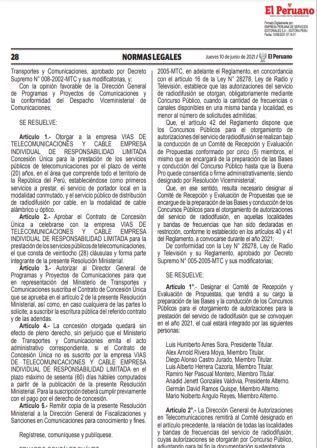 Resolución Directoral N°022-2021-MTC/18