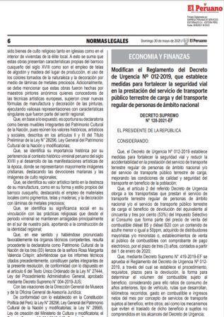 Decreto Supremo N°128-2021-EF
