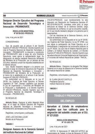 Resolución MinisterialN°101-2021-TR