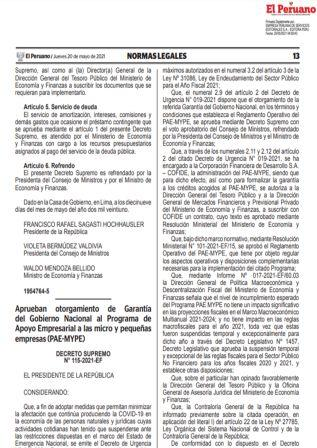 Decreto Supremo N°115-2021-EF