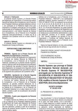 Decreto Supremo N°105-2021-PCM