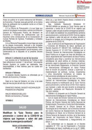 Resolución Ministerial 831-2021/MINSA