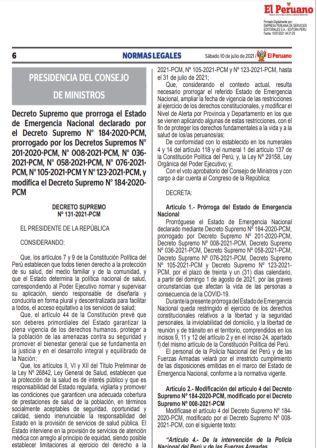 Decreto Supremo N°131-2021-PCM