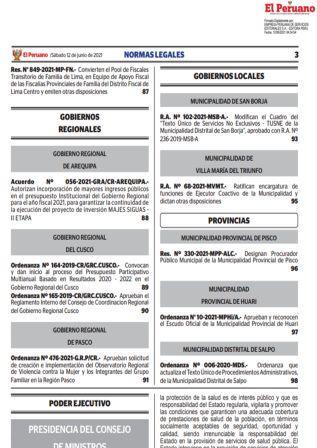 Decreto Supremo N°117-2021-PCM