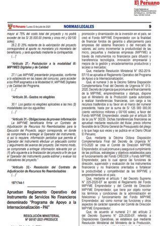 Resolución Ministerial N°00187-2021-PRODUCE