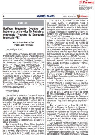 Resolución Ministerial N°00186-2021-PRODUCE