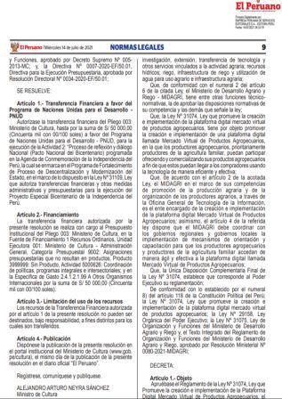 Decreto Supremo N°016-2021-MIDAGRI