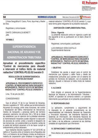 Resolución De Superintendencia N°000100-2021/SUNAT