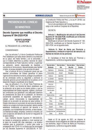Decreto Supremo N°144-2021- PCM