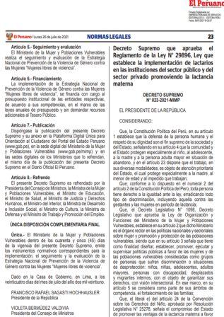 Decreto Supremo N°023-2021-MIMP
