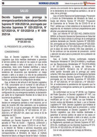 Decreto Supremo N°025-2021-SA
