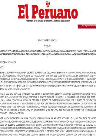 Decreto De Urgencia N°080-2021