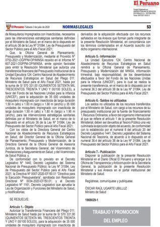 Resolución Ministerial N°117-2021-TR