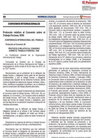 Protocolo Al Convenio 29 Relativo Al Convenio Sobre El Trabajo Forzoso 1930