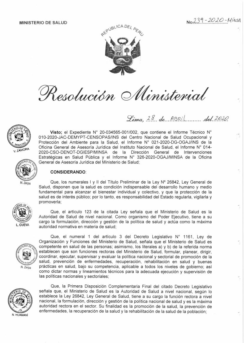 Resolución Ministerial N° 239-2020-MINSA Y Anexo