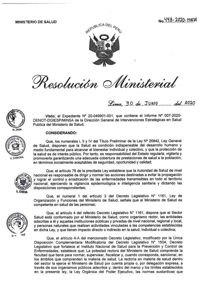 Resolución Ministerial N° 448-2020-MINSA